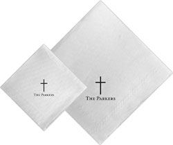 Boatman Geller - Linen-Like Personalized Beverage and Dinner Napkins (Cross)