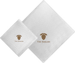 Boatman Geller - Linen-Like Personalized Beverage and Dinner Napkins (Pine Cone)