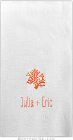 Boatman Geller - Linen-Like Personalized Guest Towels (Coral)