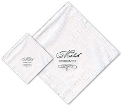 Boatman Geller - Linen-Like Personalized Beverage and Dinner Napkins (Glyph)