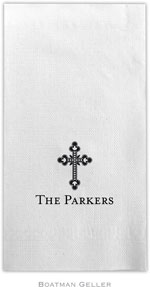 Boatman Geller - Linen-Like Personalized Guest Towels (Ornate Cross)