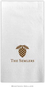 Boatman Geller - Linen-Like Personalized Guest Towels (Pine Cone)