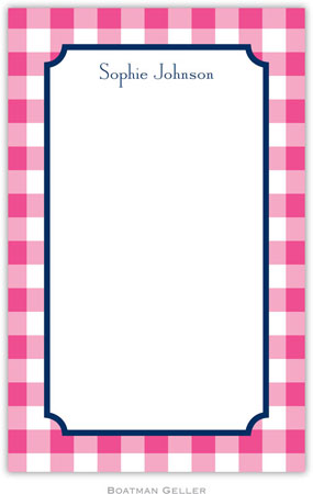 Boatman Geller - Create-Your-Own Personalized Notepads (Classic Check Raspberry)