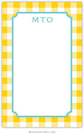 Boatman Geller - Create-Your-Own Personalized Notepads (Classic Check Sunflower)