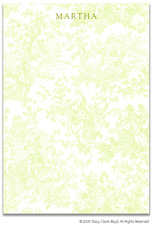 Stacy Claire Boyd Stationery - Summerland Toile - Green (Padded Stationery)