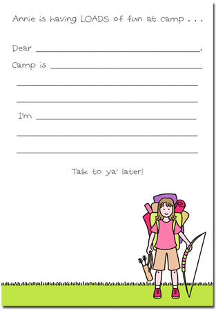 Stacy Claire Boyd Stationery - Gone Campin - Girl (Padded Stationery)
