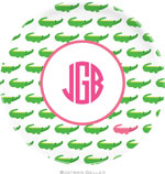 Boatman Geller - Personalized Melamine Plates (Alligator Repeat Pink)