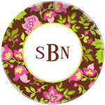Boatman Geller - Personalized Melamine Plates (Floral Brown)
