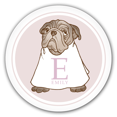 Name Doodles Personalized Melamine Plates Whimsical Pug Pink