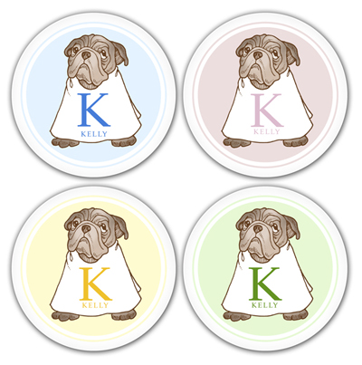 Name Doodles Personalized Melamine Plates Whimsical Pug 4 Plate