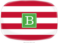 Boatman Geller - Personalized Melamine Platters (Awning Stripe Red Preset - Holiday)