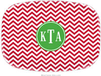 Boatman Geller - Personalized Melamine Platters (Chevron Red Preset - Holiday)