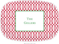Boatman Geller - Personalized Melamine Platters (Trellis Reverse Cherry - Holiday)