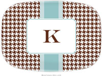 Boatman Geller - Personalized Melamine Platters (Alex Houndstooth Chocolate)