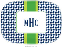 Boatman Geller - Personalized Melamine Platters (Alex Houndstooth Navy)