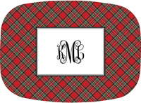 Boatman Geller - Personalized Melamine Platters (Plaid Red)