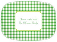 Boatman Geller - Personalized Melamine Platters (Classic Check Kelly and Lime - St. Patrick's Day)