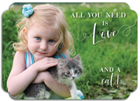 Modern Posh Pet Adoption Photo Announcements - All You Need is Love and a Cat