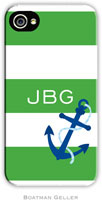 Boatman Geller Hard Phone Cases - Anchor Stripes Green