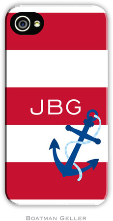 Boatman Geller Hard Phone Cases - Anchor Stripes Red