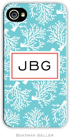 Boatman Geller Hard Phone Cases - Coral Repeat Teal