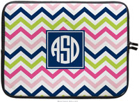 Boatman Geller Laptop Sleeves - Chevron Pink Navy & Lime (Preset)