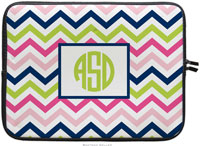 Boatman Geller Laptop Sleeves - Chevron Pink Navy & Lime