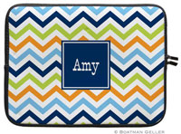 Boatman Geller Laptop Sleeves - Chevron Blue Orange & Lime (Preset)