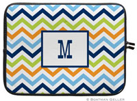 Boatman Geller Laptop Sleeves - Chevron Blue Orange & Lime