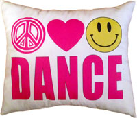 Just Gifts by Robin - Throw Pillows (Peace Love Smiley Dance)
