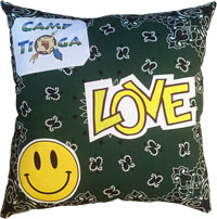 Just Gifts by Robin - Throw Pillows (Bandana Patch With Yellow Smiley)