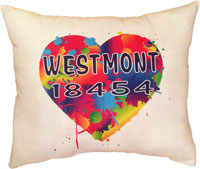 Just Gifts by Robin - Throw Pillows (Heart Splat With Zip Code)