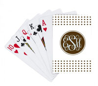 Devora Designs - Playing Cards (Chocolate Dot Light Blue Monogram)