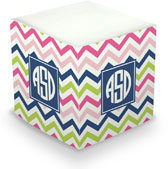 Boatman Geller Sticky Memo Cube - Chevron Pink Navy & Lime (675 Self-Stick Notes)