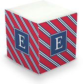Boatman Geller Sticky Memo Cube - Repp Tie Red & Navy (675 Self-Stick Notes)