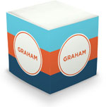 Great Gifts by Chatsworth - Decorative Memo Cubes/Sticky Notes (Stripe Cyan Orange & Liberty)