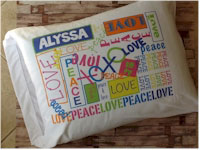 Personalized Graffiti Pillowcase - Girl (Peace/Love or Peace/Love/Camp)
