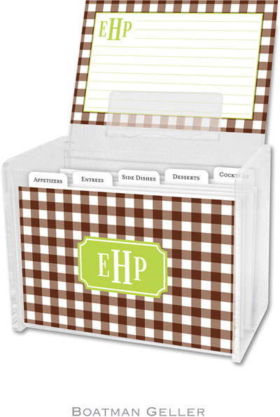 Boatman Geller - Create-Your-Own Personalized Recipe Card Boxes with Cards (Classic Check)