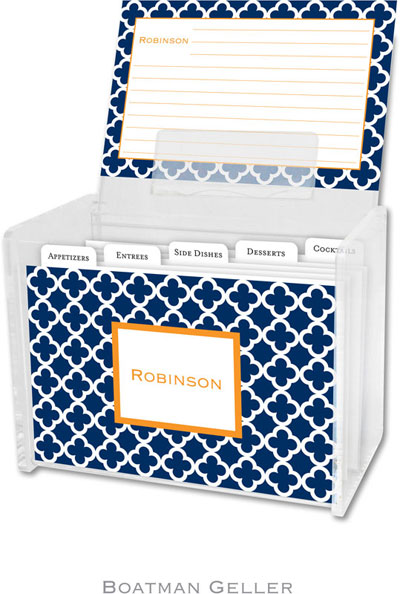 Boatman Geller - Create-Your-Own Personalized Recipe Card Boxes with Cards (Bristol Tile Navy)