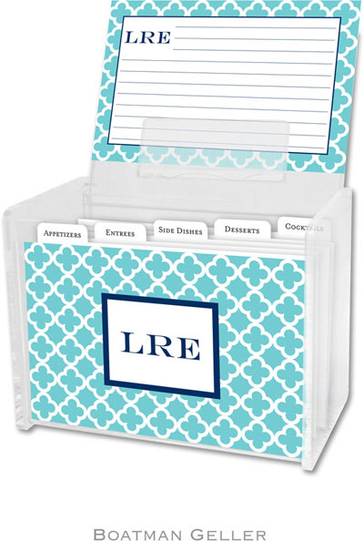 Boatman Geller - Create-Your-Own Personalized Recipe Card Boxes with Cards (Bristol Tile Teal)
