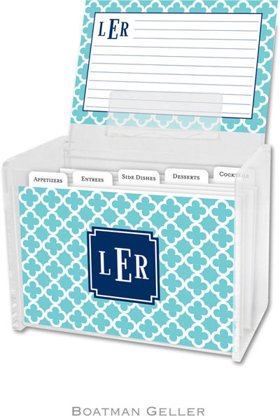 Boatman Geller - Create-Your-Own Personalized Recipe Card Boxes with Cards (Bristol Tile Teal Preset