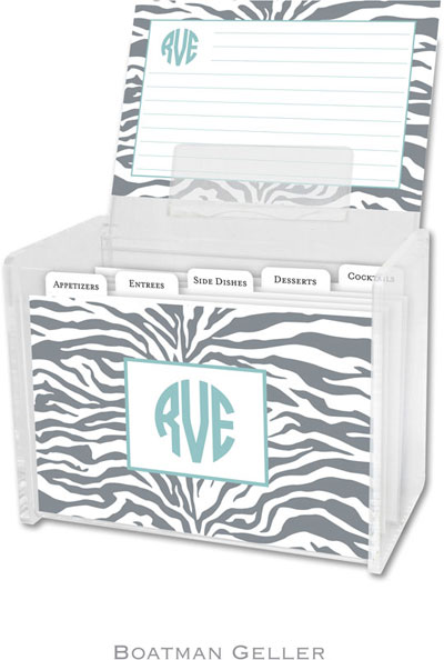 Boatman Geller - Create-Your-Own Personalized Recipe Card Boxes with Cards (Zebra Gray)