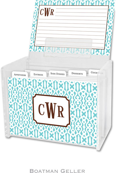 Boatman Geller - Create-Your-Own Personalized Recipe Card Boxes with Cards (Cameron Teal)
