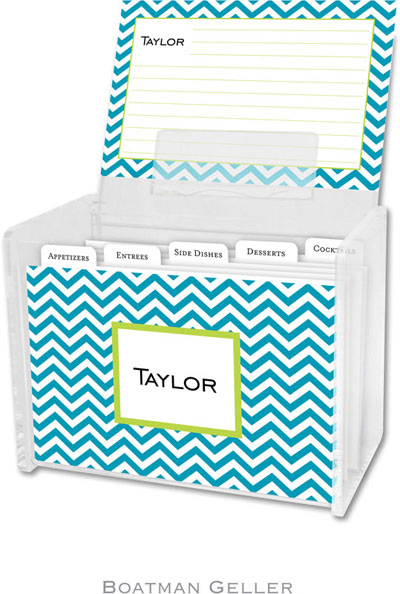 Boatman Geller - Create-Your-Own Personalized Recipe Card Boxes with Cards (Chevron Turquoise)