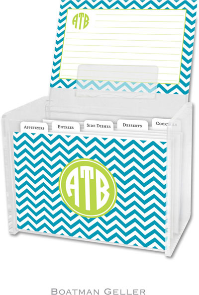 Boatman Geller - Create-Your-Own Personalized Recipe Card Boxes with Cards (Chevron Turquoise Preset