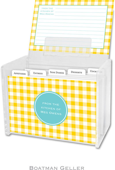 Boatman Geller - Create-Your-Own Personalized Recipe Card Boxes with Cards (Classic Check Sunflower