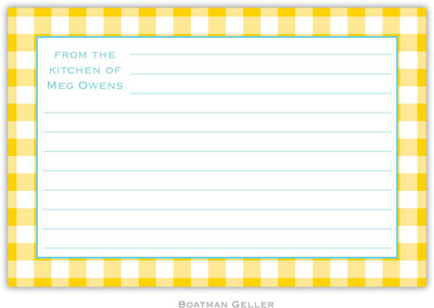Boatman Geller - Create-Your-Own Personalized Recipe Cards (Classic Check Sunflower)