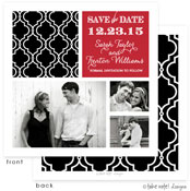 Take Note Designs Save The Date Cards - Black Classic Pattern with Red