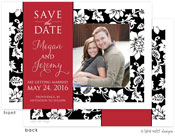 Take Note Designs Save The Date Cards - Black Pattern Red Band