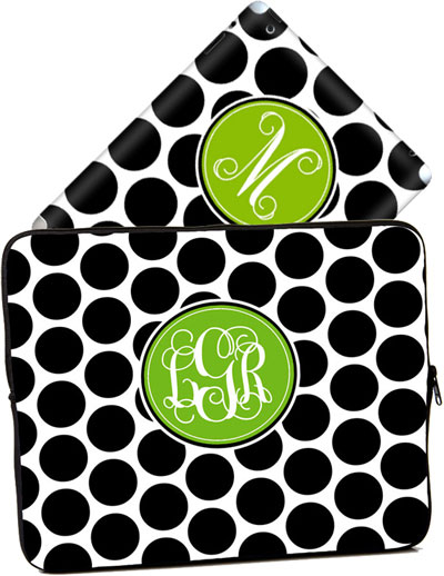 Cases for laptops & iPads - Black White Polka Dots ()